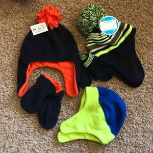 Children's Place Bundle: 3 hats and 2 mitten sets